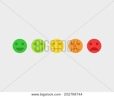 Feedback vector concept. Rank, level of satisfaction rating. Feedback in form of emotions, smileys, emoji