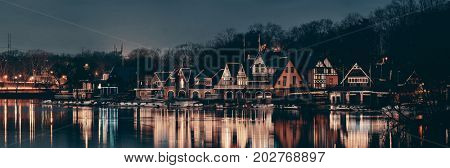 Boathouse Row in Philadelphia as the famous historical landmark.