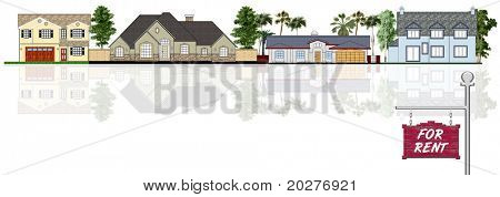 House for rent in the street illustration