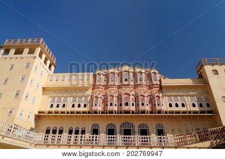 Beautifoul Hawa Mahal Palace in Jaipur city in India. Rajasthan