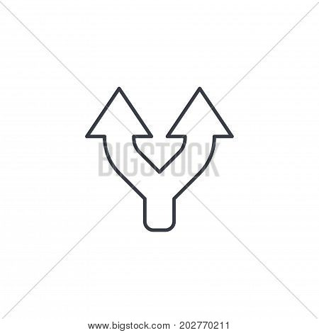 Junction, Separation, Two paths, ways thin line icon. Linear vector illustration. Pictogram isolated on white background