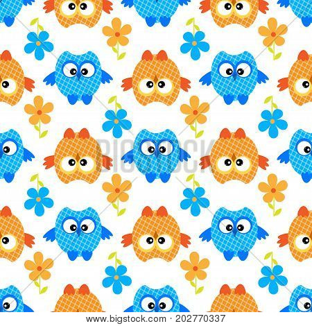 owl flower seamless vector pattern family, comic, wrap, beak