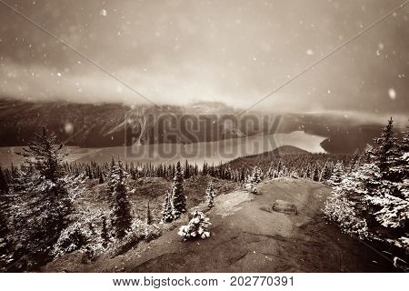 Peyto Lake in winter with snow in Banff National Park, Canada
