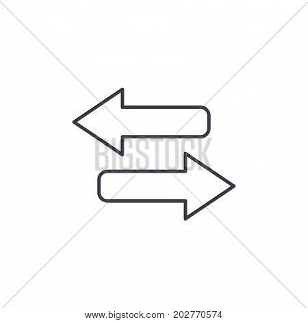 Arrows Exchange thin line icon. Linear vector illustration. Pictogram isolated on white background