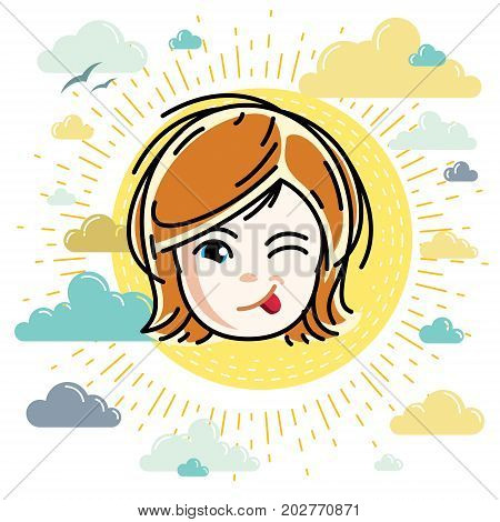 Vector illustration of beautiful red-haired happy girl face positive face features clipart. Teenager winking and making funny grimace.