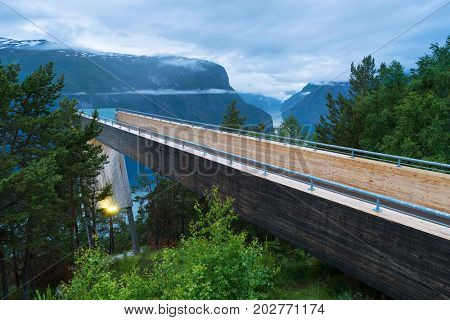 Viewing point Stagastein with splendid panoramic views of the Aurlandsfjorden fjord. This viewpoint is part of the Aurlandsfjellet National Tourist Route