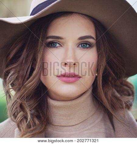 Magnificent Fashion Model Woman Outdoors Face Closeup