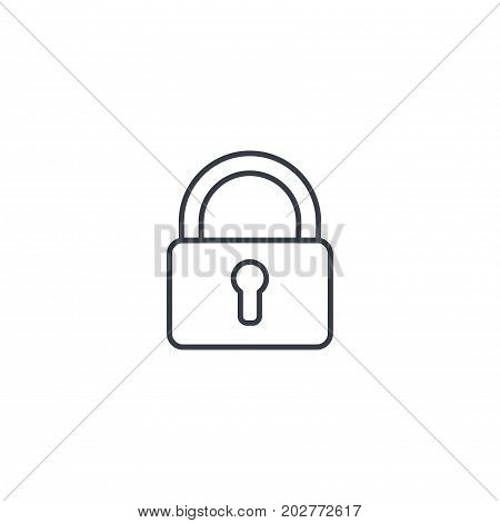 protection, , closed lock, password, access thin line icon. Linear vector illustration. Pictogram isolated on white background