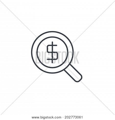 finance and money, magnifying glass with dollar symbol, bank investment search thin line icon. Linear vector illustration. Pictogram isolated on white backgroundfogmoney
