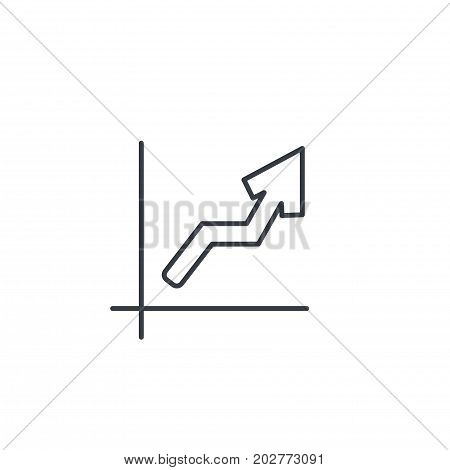 growth graph chart, market success, stock bar up thin line icon. Linear vector illustration. Pictogram isolated on white background