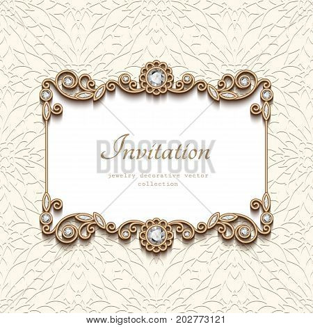 Vintage card with diamond jewelry decoration gold rectangle frame flourish vignette elegant wedding invitation or announcement template