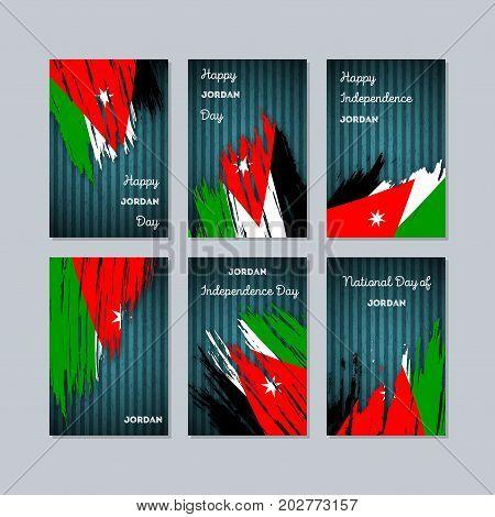 Jordan Patriotic Cards For National Day. Expressive Brush Stroke In National Flag Colors On Dark Str