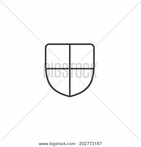 Shield, safety and protection thin line icon. Linear vector illustration. Pictogram isolated on white background