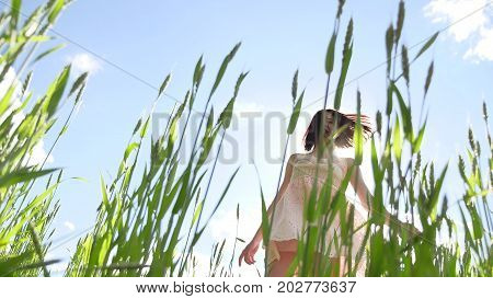 Girl sexy in a dress in field of green grass. Girl lifestyle sunlight glare sun, summer happiness