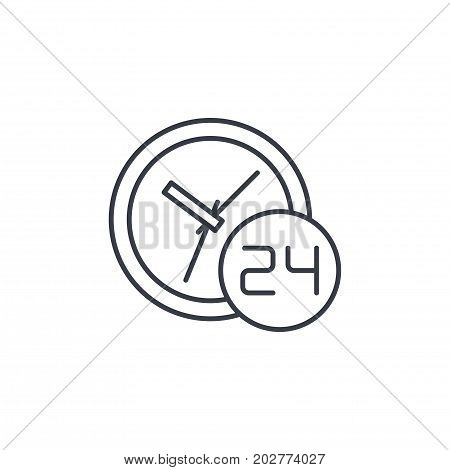 24 hour, around the clock, day and night thin line icon. Linear vector illustration. Pictogram isolated on white background