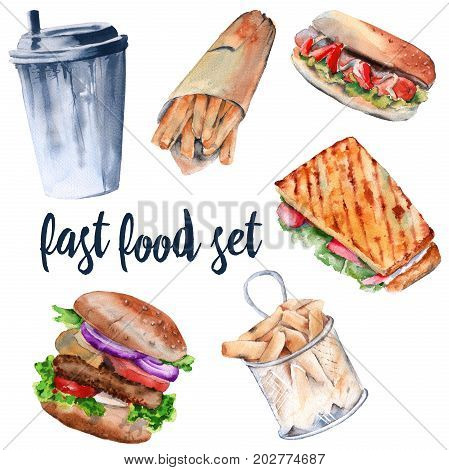 Hot sandwich, hamburger, deep-fried potatoes, drink, hot dog. isolated on white background. watercolor illustration.