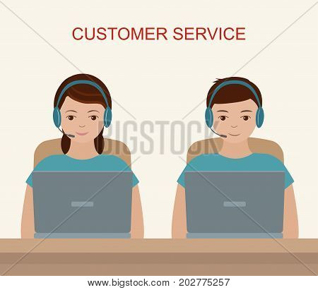 Customer service concept. Communication and online support. Vector illustration.