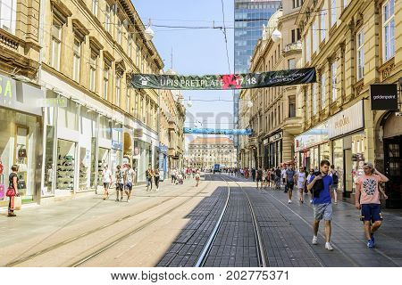 ZAGREB, CROATIA - JULY 17, 2017: Zagreb streets on a weekday during the daytime in the summer. City of Zagreb is the capital of Croatia.