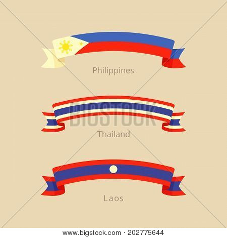 Ribbon With Flag Of Philippines, Thailand And Laos.