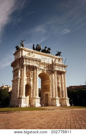 Arch of Peace, or Arco della Pace in Italian, in Milan, Italy.
