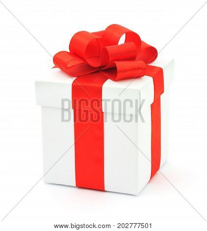 White gift box with a red bow on white background