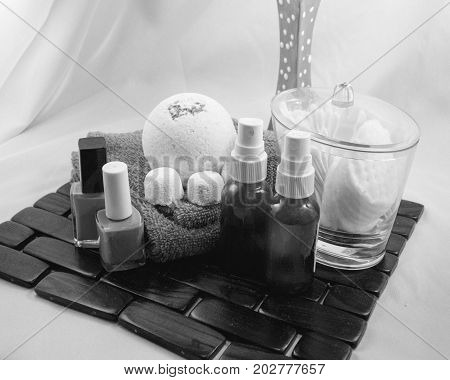 Getting ready for a girly spa day, taken in black and white
