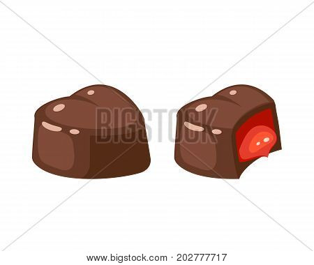 Chocolate covered bonbon jam filling. Vector illustration candy flat icon isolated on white.
