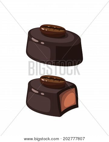 Chocolate covered bonbon coffee filling. Vector illustration candy flat icon isolated on white.