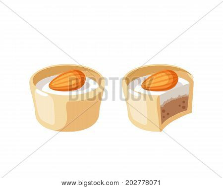 White chocolate covered bonbon filling almond nougat. Vector illustration candy flat icon isolated on white.