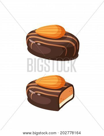 Chocolate covered bonbon filling almond nougat. Vector illustration candy flat icon isolated on white.