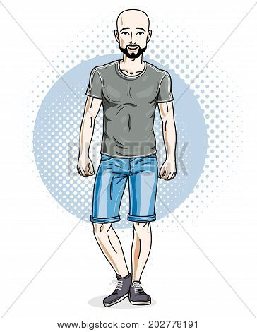 Confident athletic handsome hairless young man standing. Vector illustration of male wearing casual clothes jeans shorts and T-shirt.