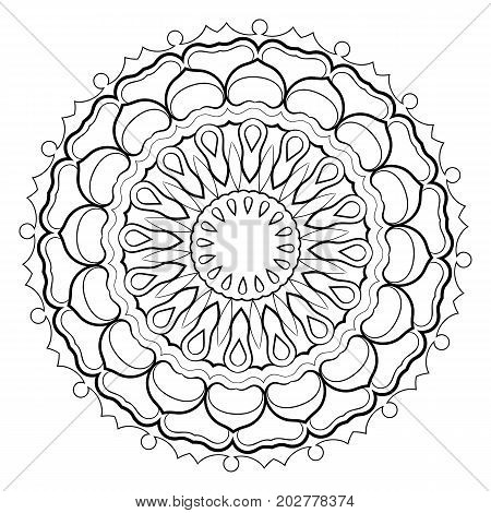 Monochrome mandala. Hexagonal star. A pattern for a color book. Picture for the design of the album. Template for printing on fabric. Image for relaxation and meditation. Coloring element.