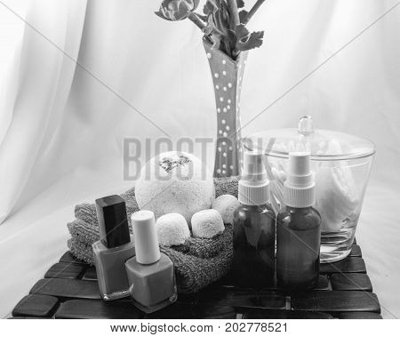 Getting ready for a girly spa day taken in black and white