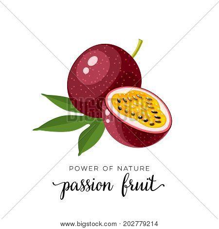 Superfood fruit. Passion fruit. Vector illustration cartoon flat icon isolated on white.