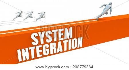 System Integration Express Lane with Business People Running 3D Illustration Render