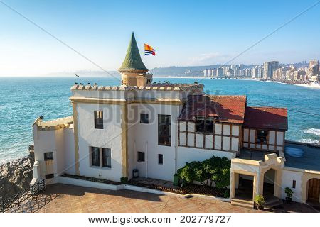 View of Wulff Castle overlooking the Pacific Ocean in Vina del Mar Chile