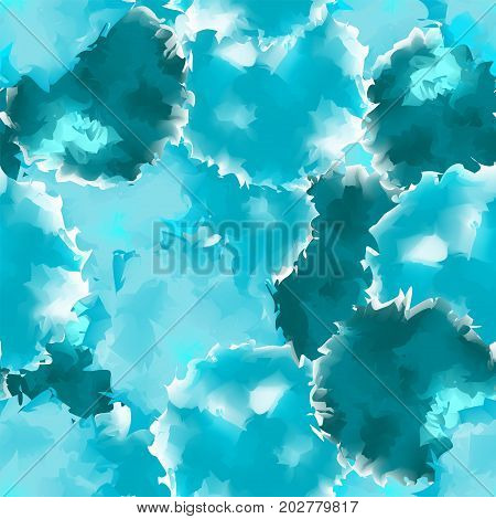 Teal Seamless Watercolor Texture Background. Fascinating Abstract Teal Seamless Watercolor Texture P