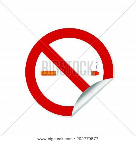 No Smoking Sign Abuse Sticker Illustration