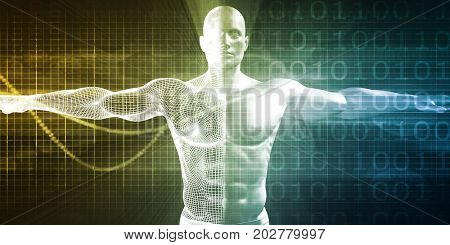 Advanced Medical Science with Human Body Mesh Transforming 3D Illustration Render