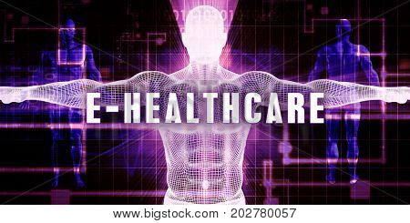E-healthcare as a Digital Technology Medical Concept Art 3D Illustration Render