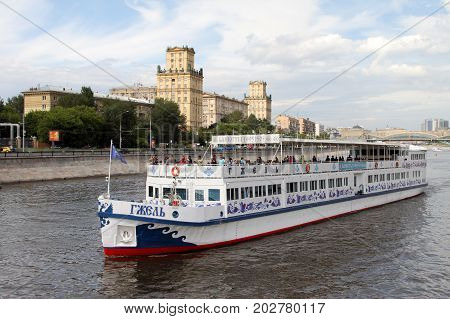 Moscow , Russia - July 20, 2017: Pleasure boat  sails along the Moscow River.