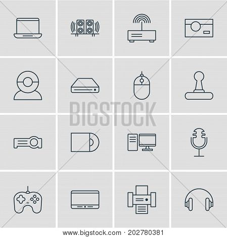 Editable Pack Of Photography, Joypad, Loudspeaker And Other Elements.  Vector Illustration Of 16 Hardware Icons.