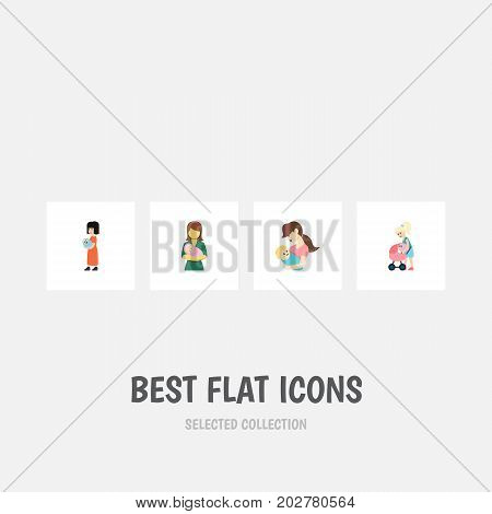Flat Icon Mam Set Of Mother, Child, Baby And Other Vector Objects