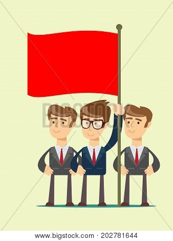people are holding a red flag isolated on background. Stock flat vector illustration.