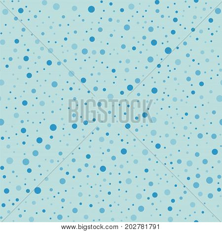 Blue Polka Dots Seamless Pattern On Turquise Background. Comely Classic Blue Polka Dots Textile Patt