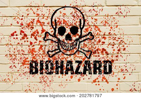 Skull Of Biological Hazard On The Wall With Red Toxic Sprays On The Wall