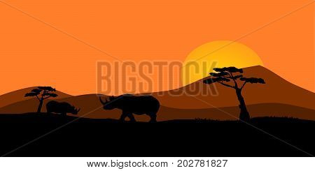 Vector illustration of an African sunset with rhinos