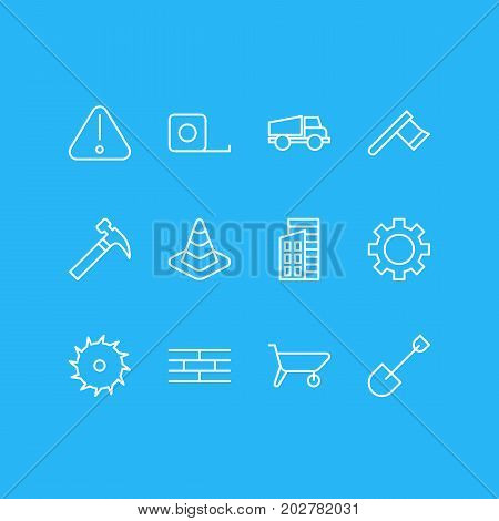 Editable Pack Of Cogwheel, Hatchet, Caution And Other Elements.  Vector Illustration Of 12 Construction Icons.