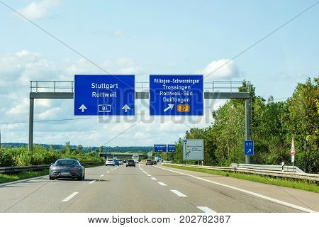 Freeway Road Signs On Autobahn A81 Showing Exit To Villingen-schwenningen
