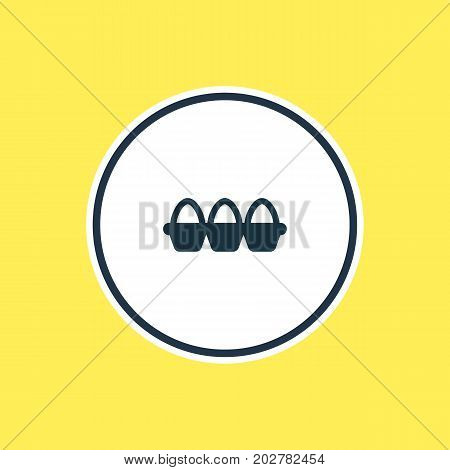 Beautiful Eating Element Also Can Be Used As Container Element.  Vector Illustration Of Tray Of Eggs Outline.